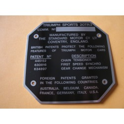 plaque identification Triumph TR3